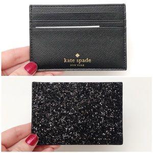 Kate Spade Black Glitter Graham Greta Court Wallet